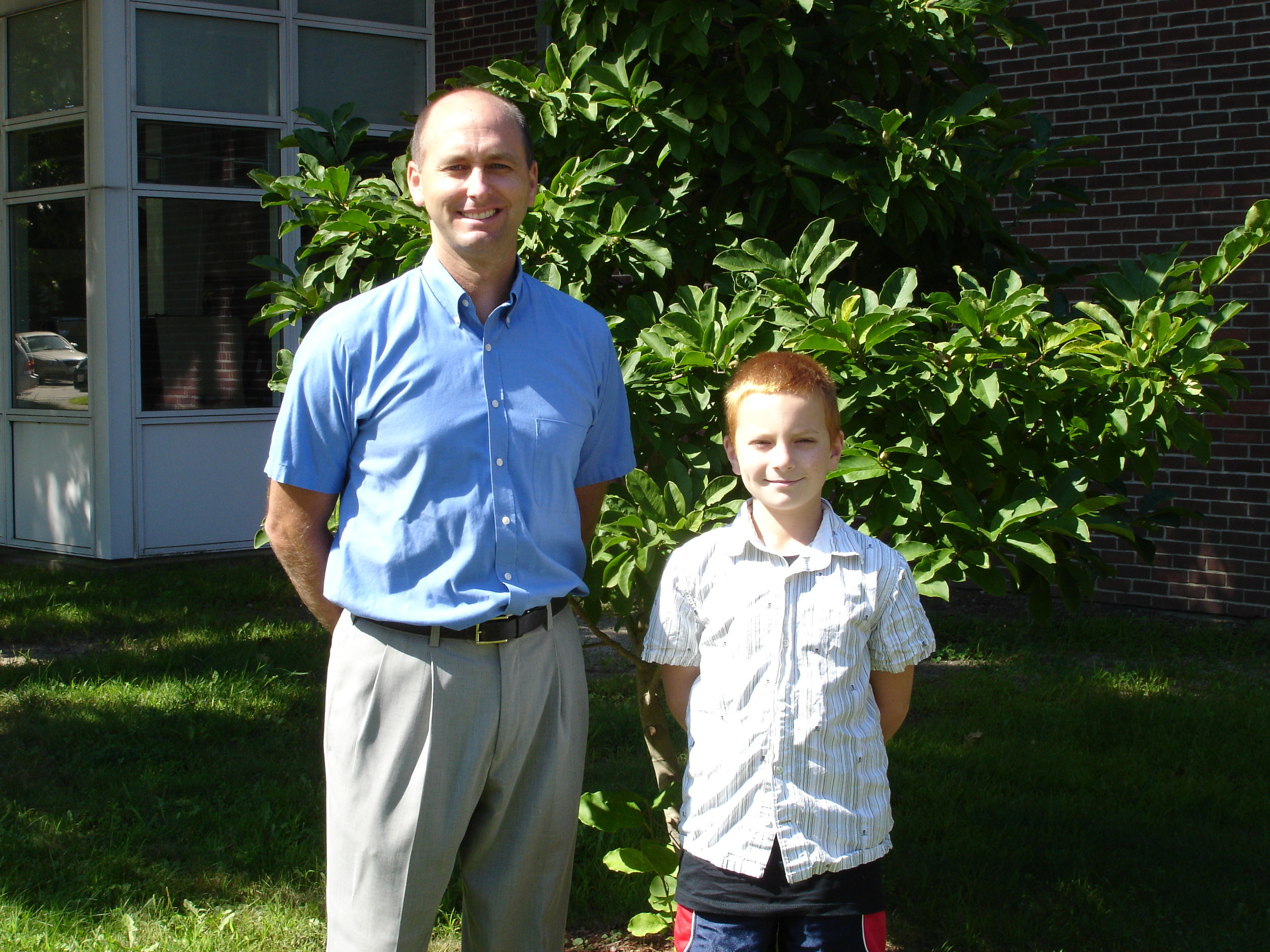Principal Ackerman and Student Rob Ackerman on their first day of school as principal and as a fifth grader!