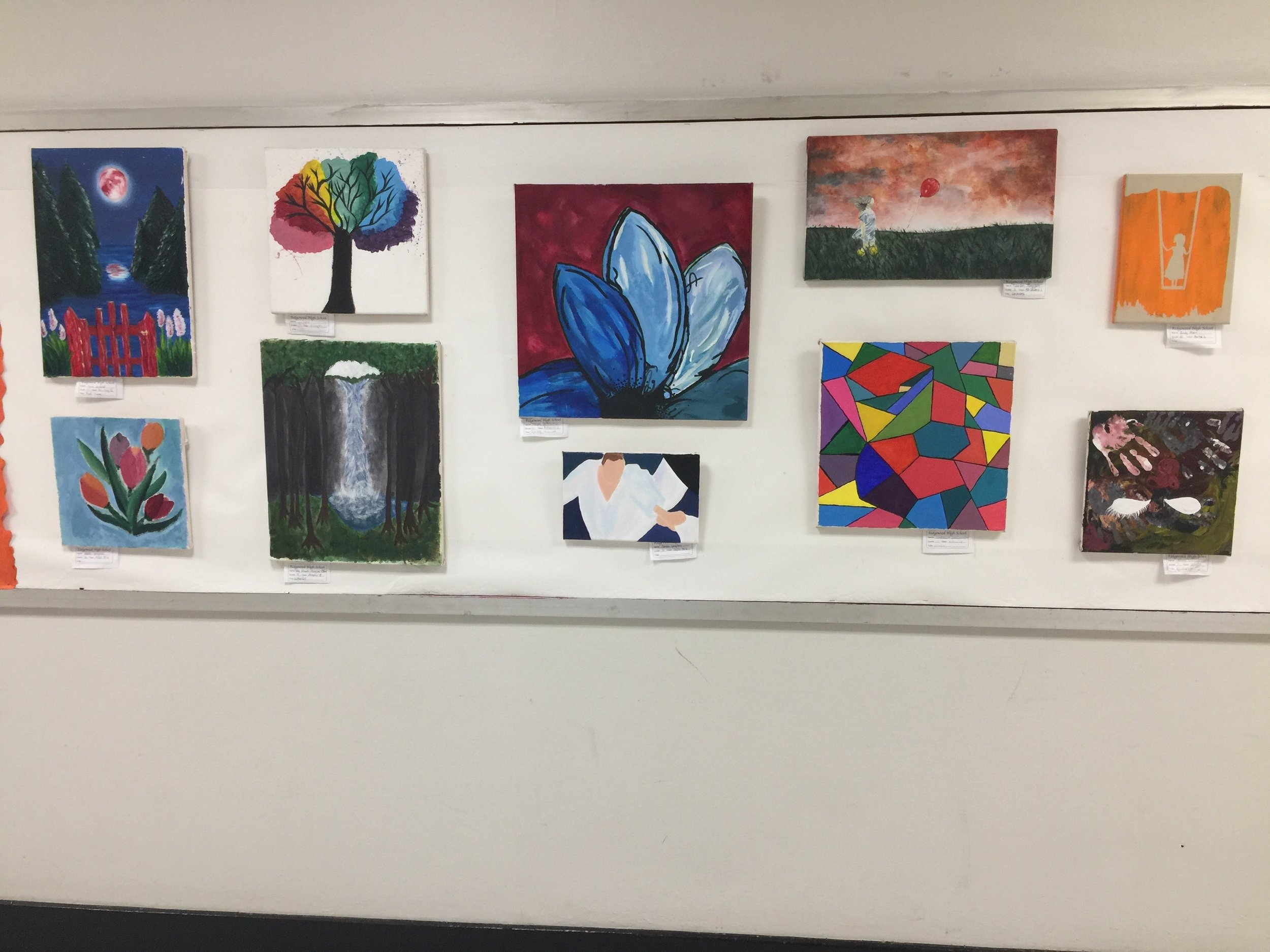 Installation View of Ridgewood High School's Celebrate the Arts Exhibition, 2018