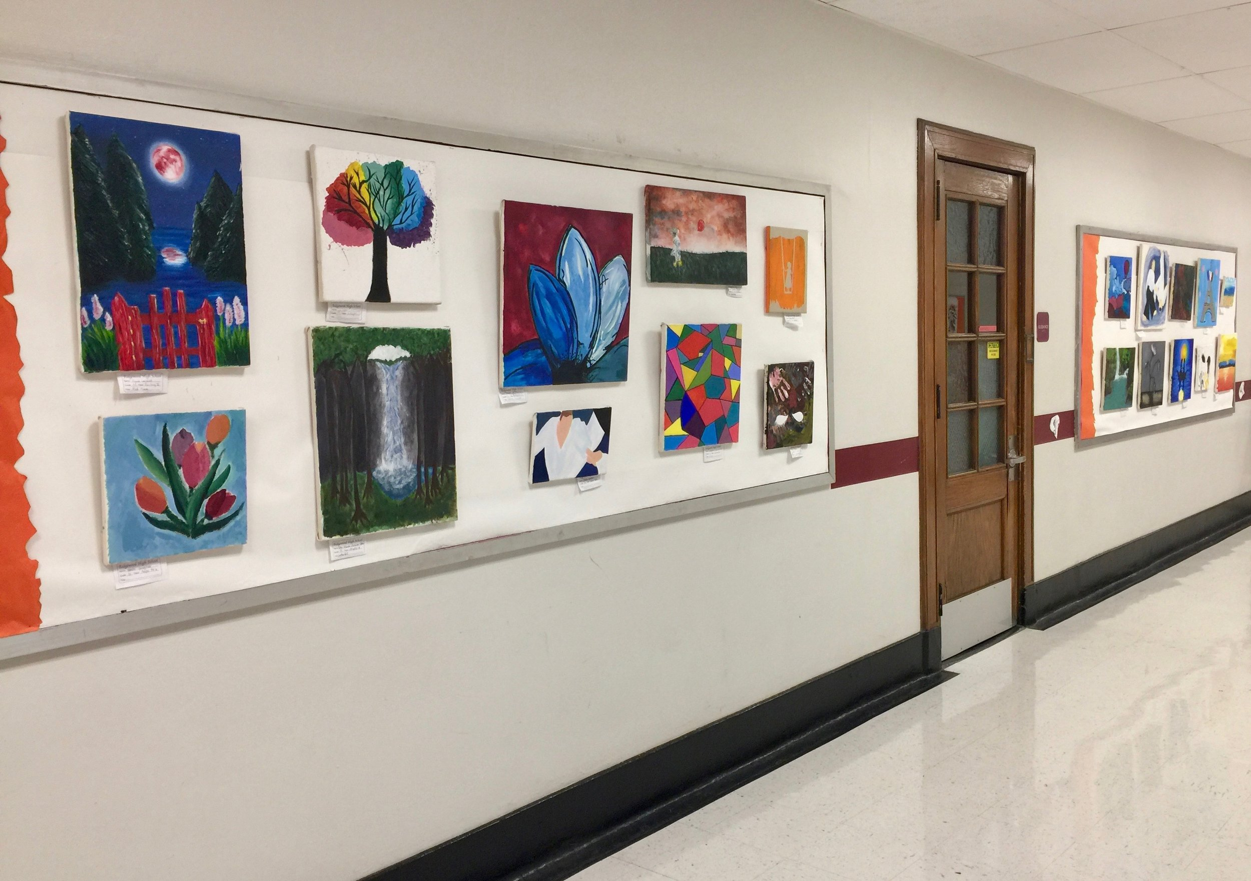 Installation View of Ridgewood High School's Celebration of the Arts Exhibition, 2018