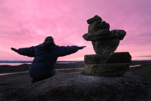 Woman and Inuksuk