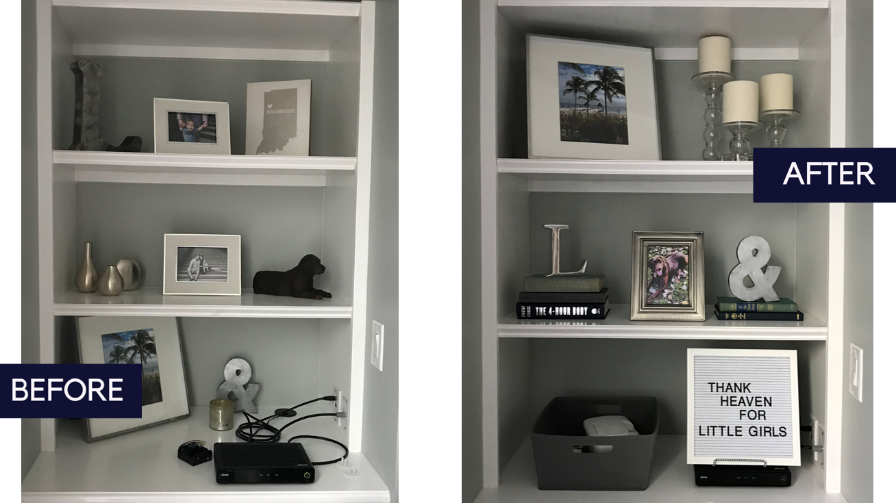 Before/After - Classic Family Room - The Baer Minimalist