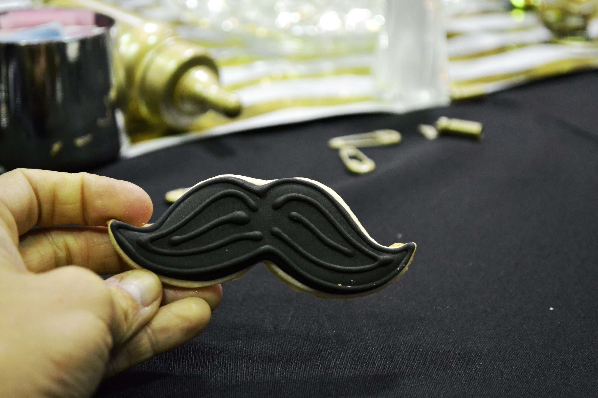 Mustache Cookies used during the Surprise Gender Reveal