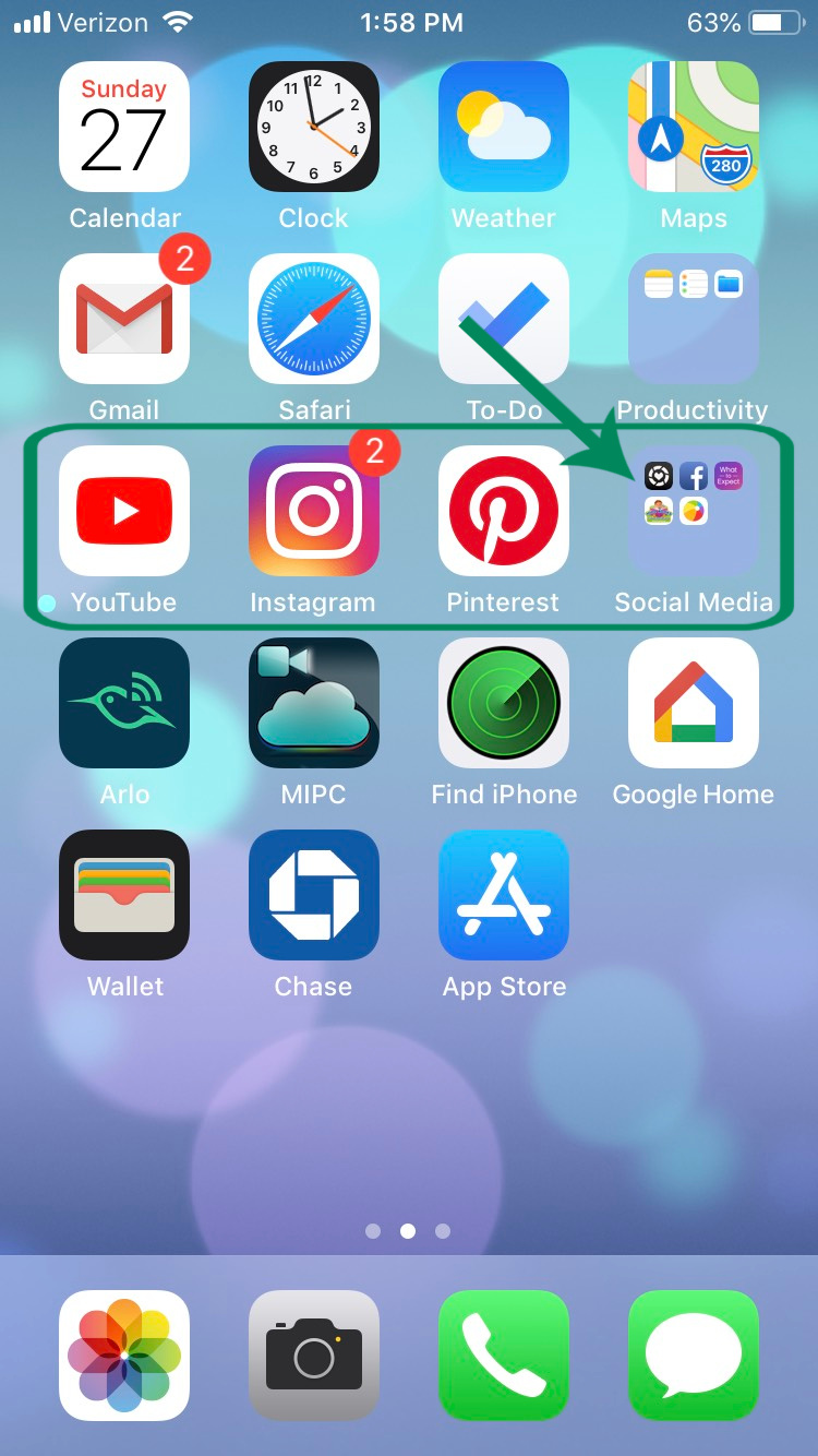 Example 1 - Three related Apps across the same line and the lesser-used apps in the category confined to a folder.
