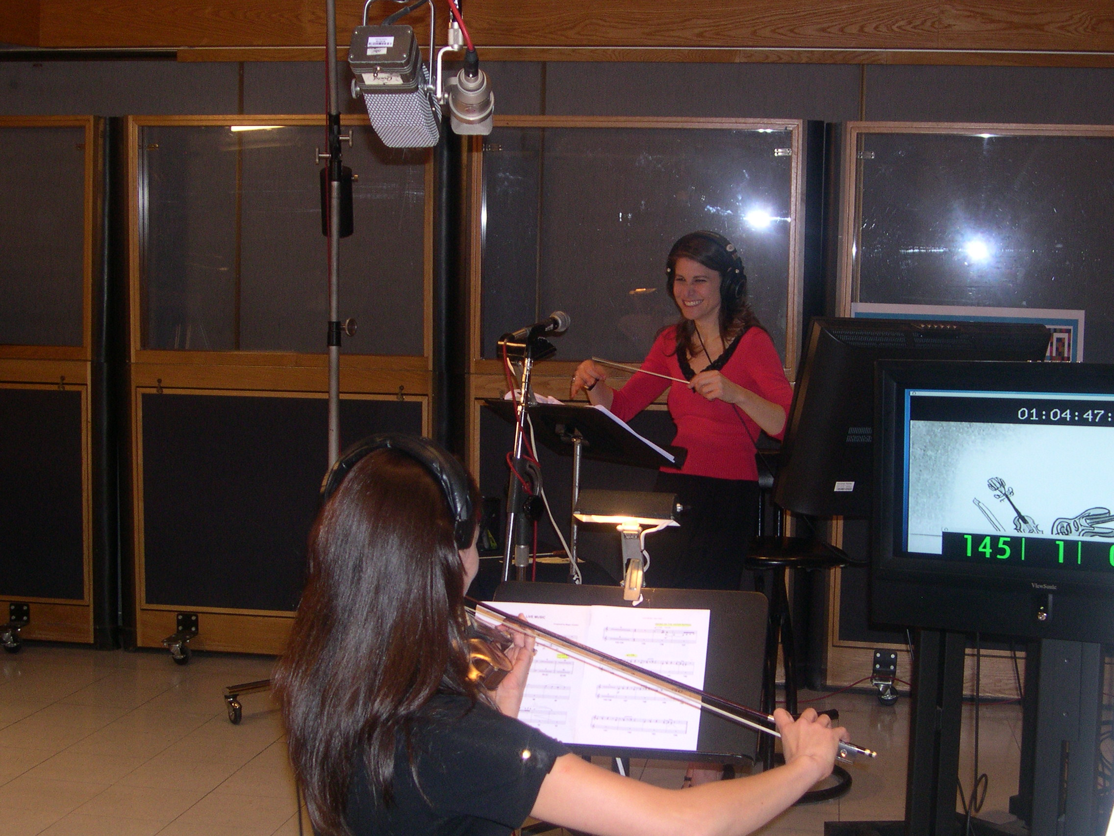 Conducting acclaimed violinist Ann Marie Calhoun at Capitol Records