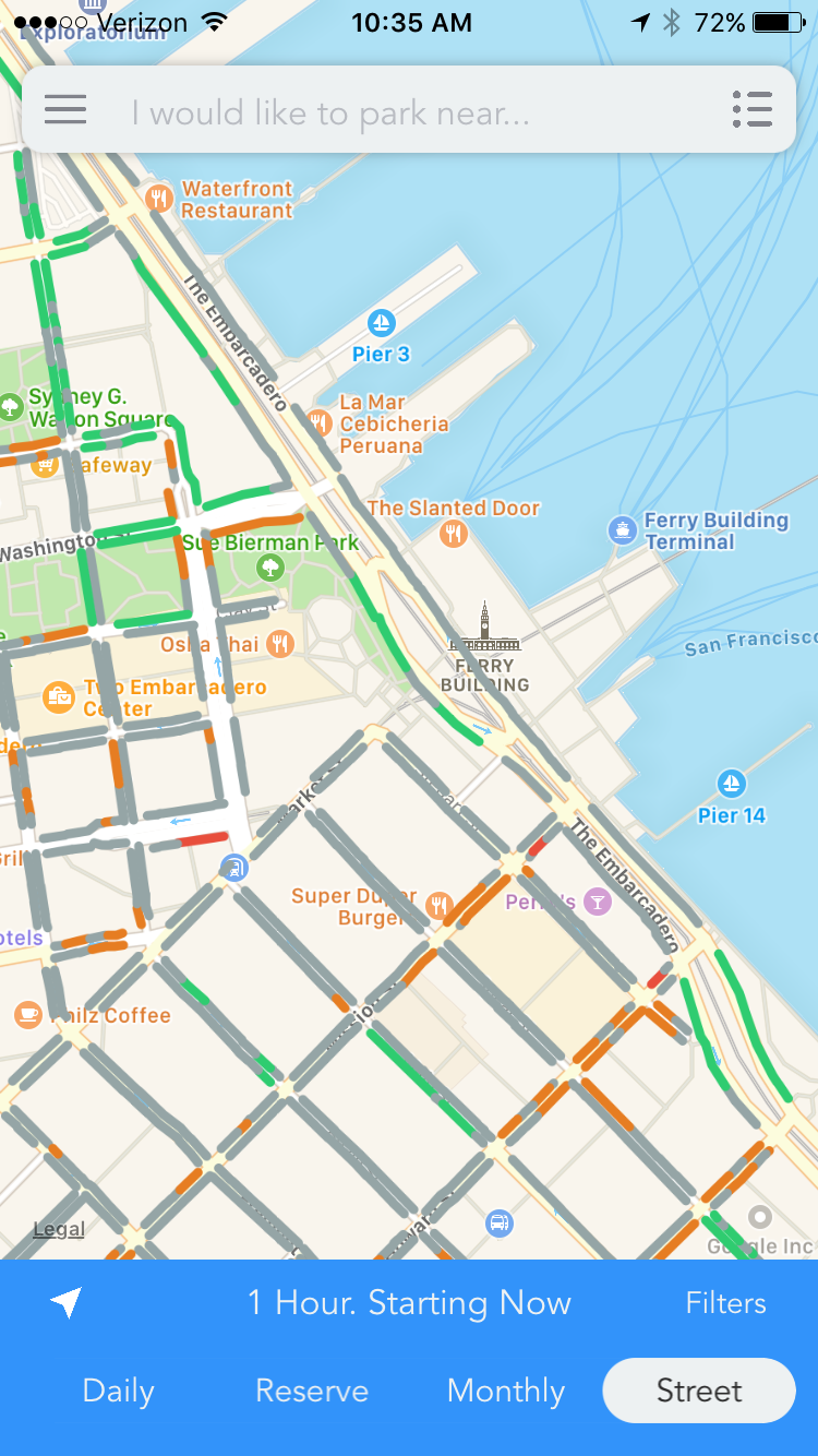 Street parking options near the Ferry Building