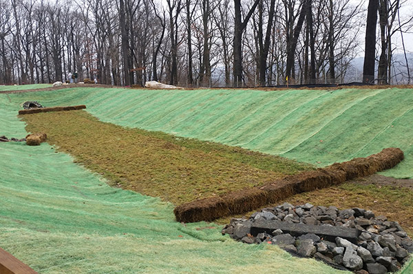 Completion of Geogrid stabilization on PVC liner for stormwater basin – Chatham, NJ