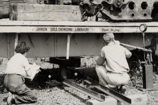 CBR test in field 1960's, Mrs. Carol Johnson.