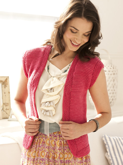 Knit Simple, which features a Tunisian crochet cap-sleeve vest in Kersti Merino Crepe. Knit Simple Spring/Summer 2012, photo by Paul Amato