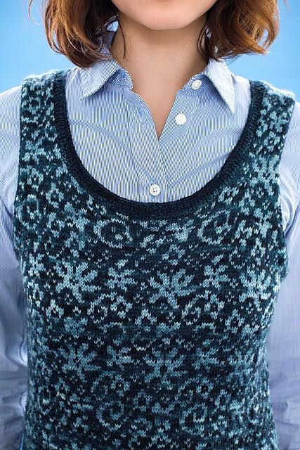 Vogue Knitting late Winter 2017  Floral Vest  by Pat Olski Photo credits: Rose Callahan