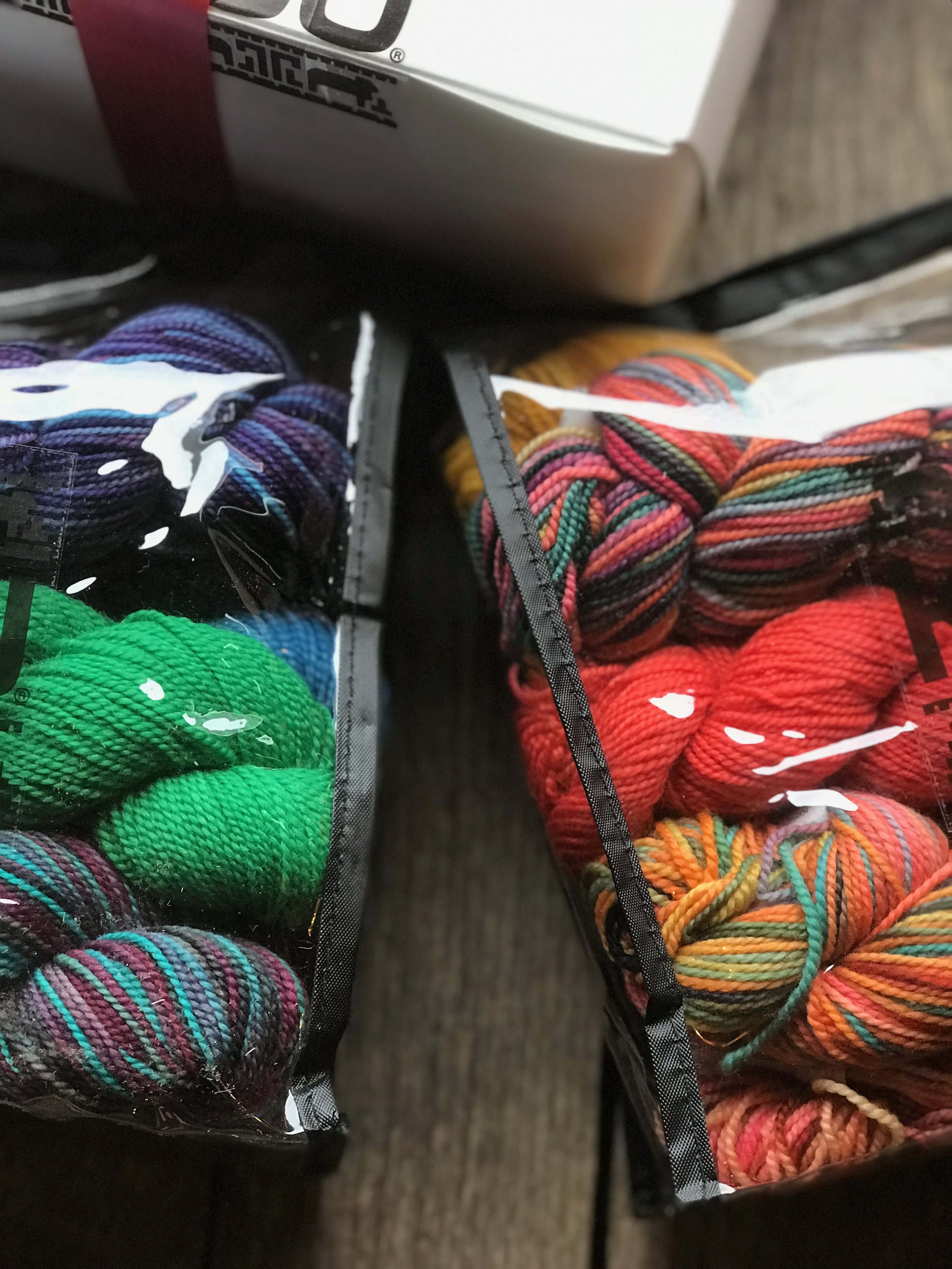 """Take Along Scarves or Socks Kit - Package of 6 KOIGU skeins (KPM AND KPPPM) arranged in a clear zipper project bag.Perfect combinations for any """"Take Along Project"""", pattern booklet included.Your Choice of Pattern Book -6 colour assortments to choose from."""