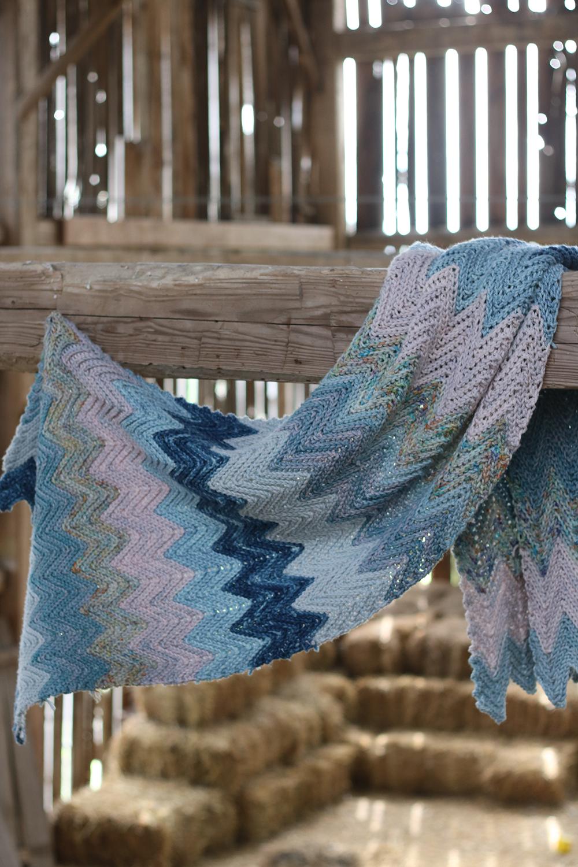 Styx -By: Kersti Landra - Crocheted in Koigu Chelsea2 skeins each of C5513, C3011, C3016, C742, C3013, C5511