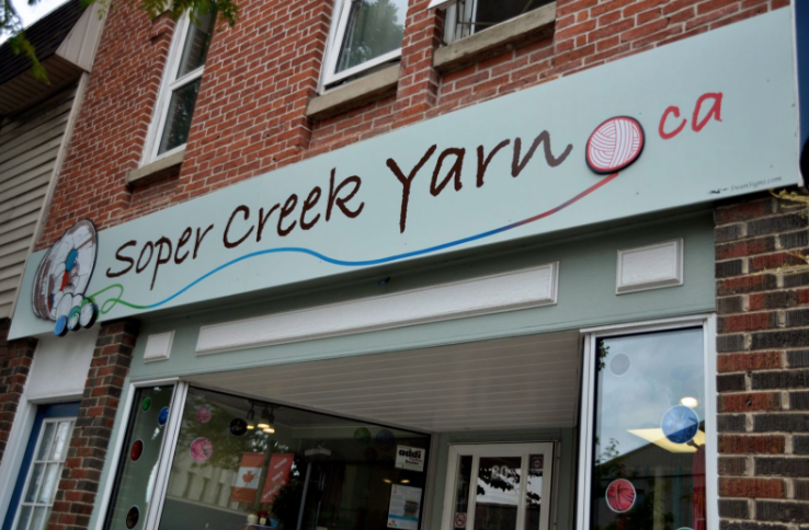 Soper Creek Yarn - Address: 80 King Street West Bowmanville, ONPhone: 905-623-2336http://sopercreekyarn.ca/