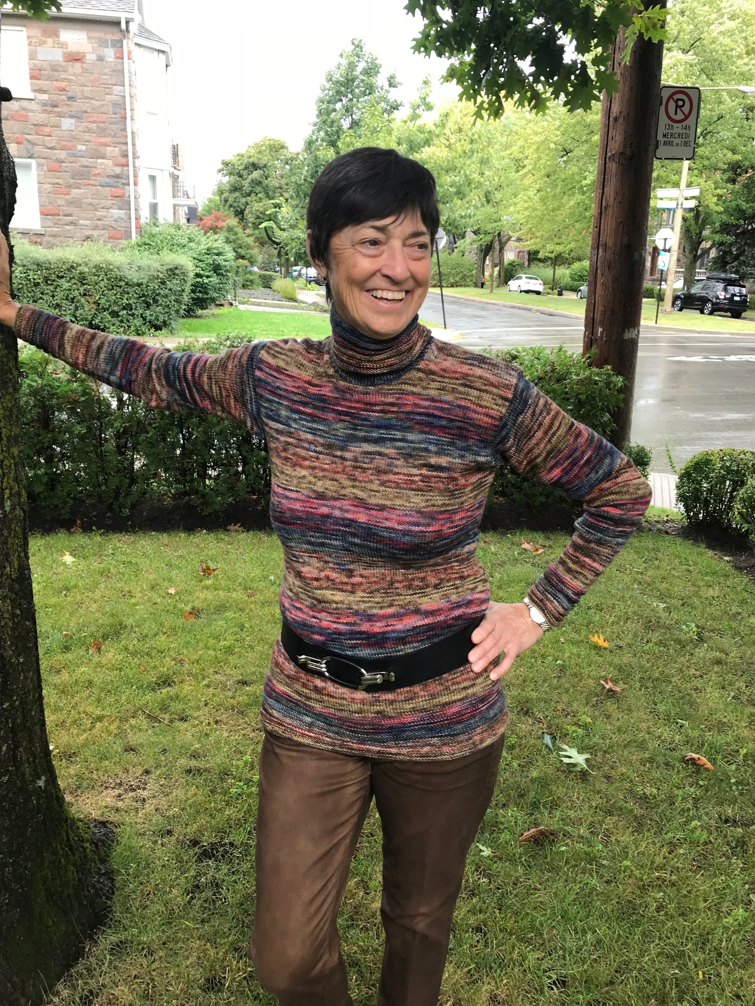 Denise - My sister and I attended Vogue knitting NYC in january 2018 to celebrate her 60th. it was a very special trip for us as do don't have many occasions to travel and intensely spend time with yarns together.At the banquet, i won your draw for the koigu sweater. i was thrilled, and when i returned to the table, because it was my sisters birthday, i gave her my prize. She was beyond thrilled.I wanted to personally thank you for this door prize as it made our evening and our event.Upon our return, she frantically knitted the prize because i told her that if she did not knit it by next jan. then i would take it back and knit it.I have enclosed the photos of her with her sweater and wanted to assure you that we both were not familiar or had knitted with Koigu and now you have 2 more fans. she loved the yarn and its softness and durability are remarkable. to top it off you are canadian!thank you thank you your prize made the 2 of us so happy- We both felt like winners!I will be purchasing my koigu to make my sweater!thank you for sponsoring events like vogue and for spending the yarn love!