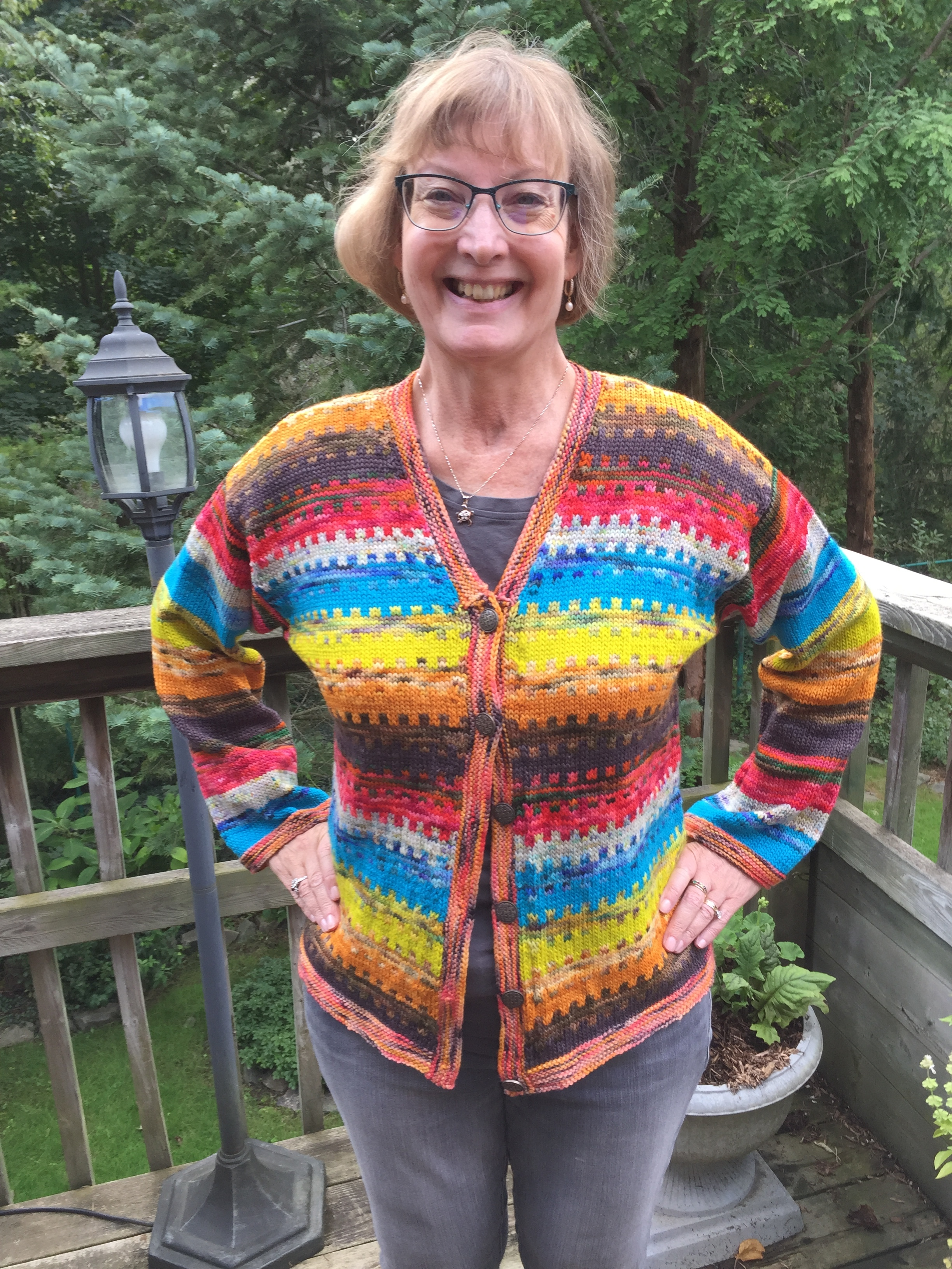 Janice - My cardigan that I did and my Welsh knitting friend wanted to knit also. I delivered Koigu Kersti to her in England.