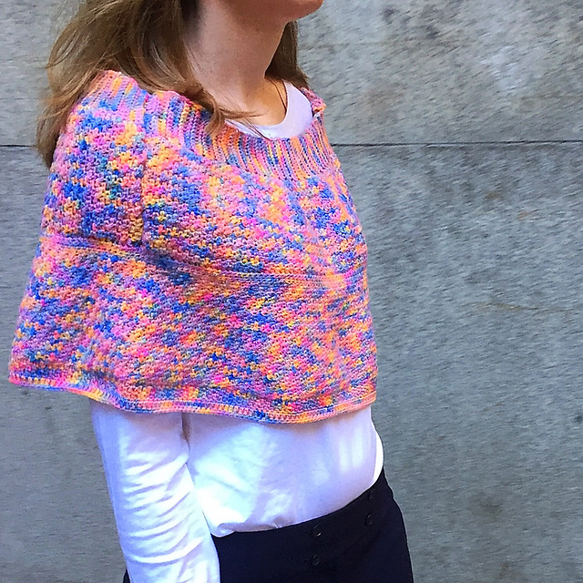 """Jenna - """"my own design, called the Rakuten Poncho. It has shoulder pads made from Koigu yarn! I used a 4.0 mm Crochet Hook. It uses 5 skeins of Koigu KPPPM Color 143"""""""