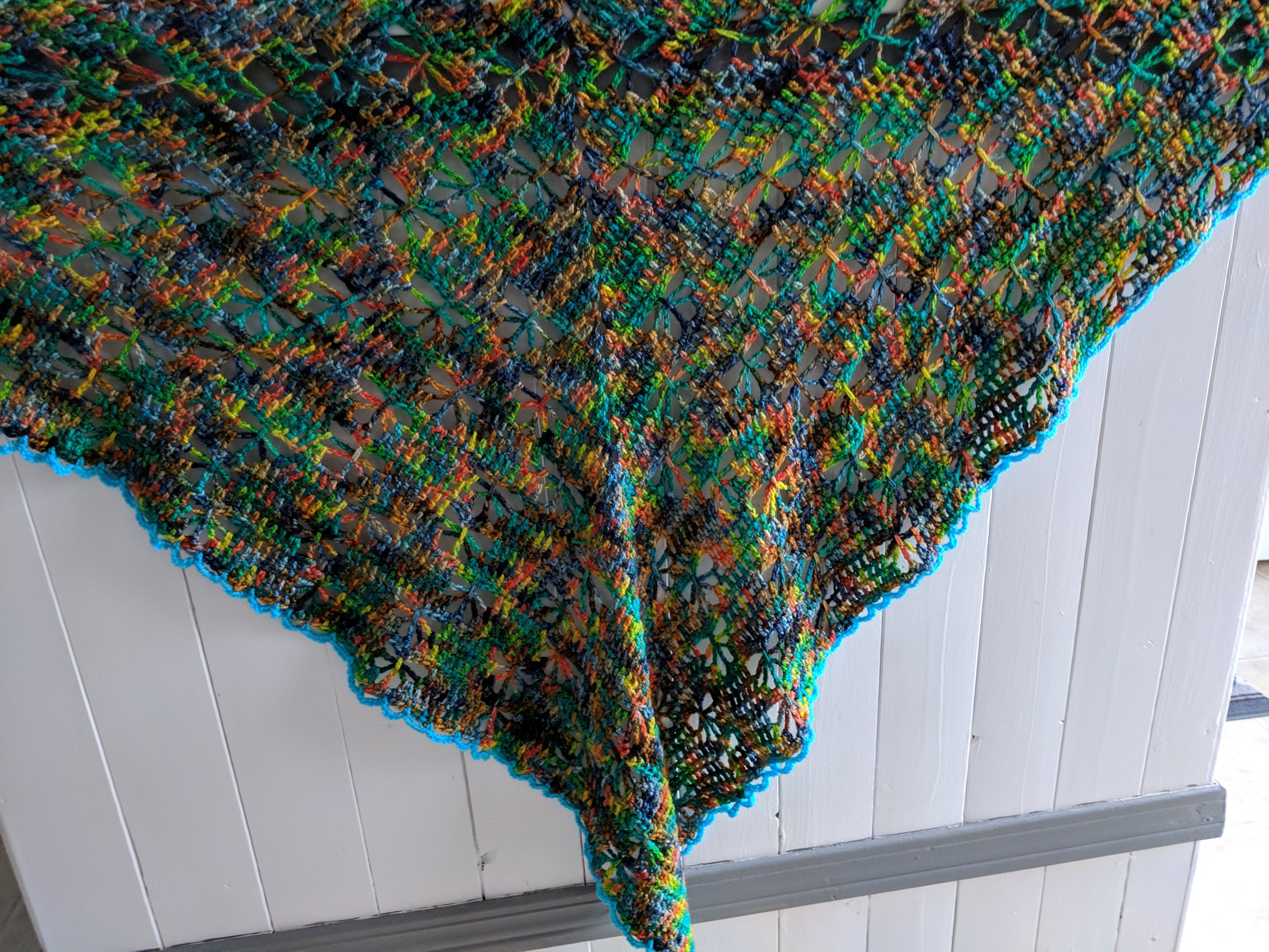 Martha - Butterfly Stitch Prayer ShawlI have been knitting since I was 8, and taught myself to crochet when I was 12.It was truly a pleasure to work with the Koigu yarn on these projects. It was an adventure waiting to be discovered as each project progressed. The variety of colours in each skein in combination with the pattern stitches were a treat for the eye. The KPM and KPPPM were a joy to work with. Blocking the projects were not as daunting as I had anticipated.
