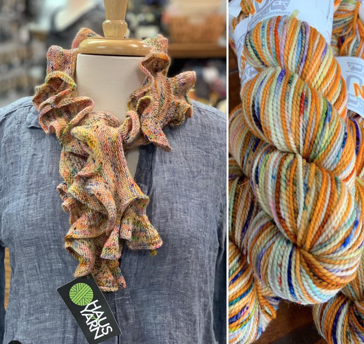 Haus of Yarn - This is last month's (February) Koigu Collector Club colour way, made into a Barb's Ruffle Scarf pattern.