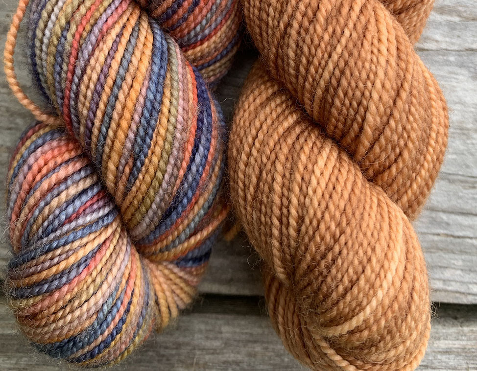 - 1. Pick a solid skein that is in the same tone or is a predominate colour in the multi colour skein