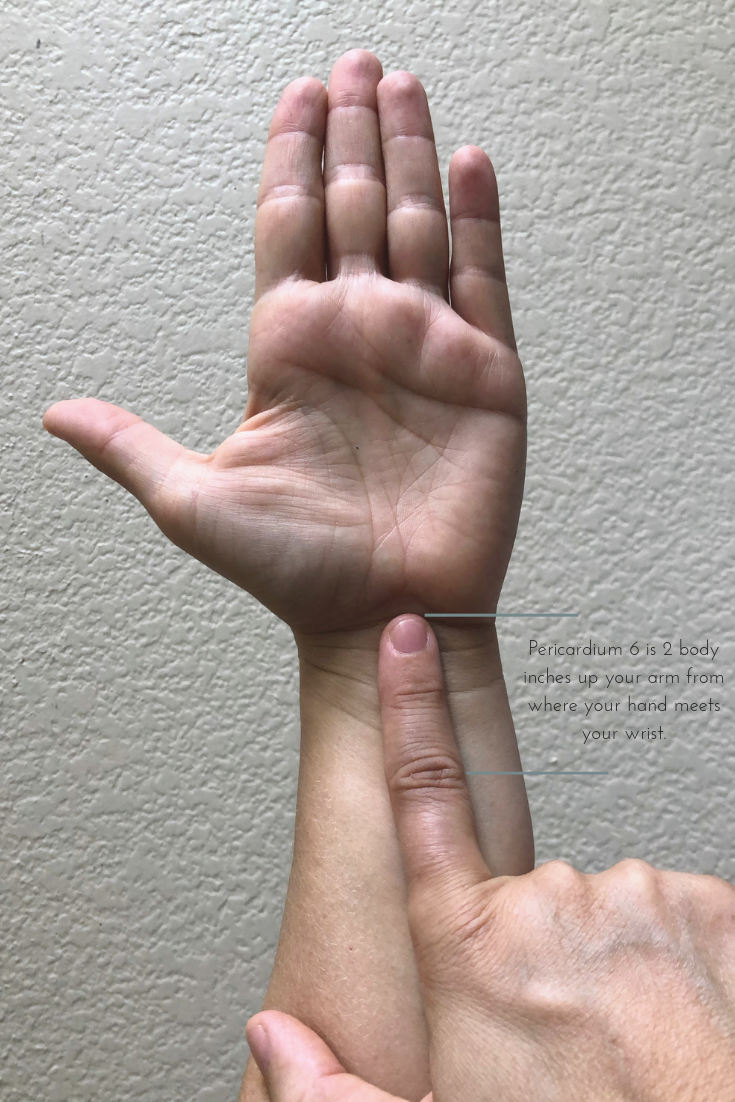 Pericardium 6 is 2 body inches up your arm from where your hand meets your wrist..png