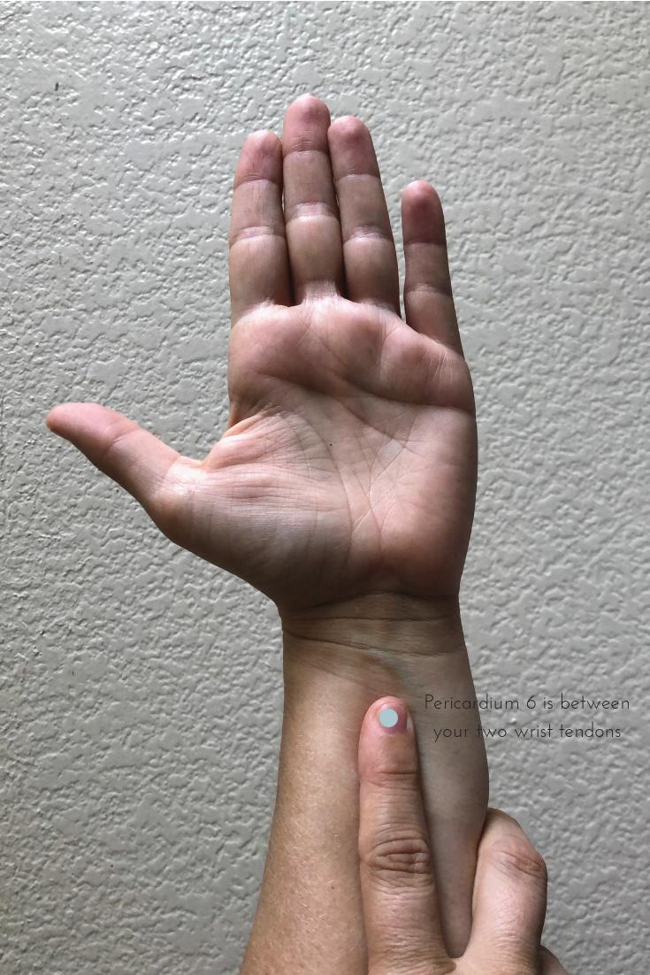 Pericardium 6 is between your two wrist tendons.png
