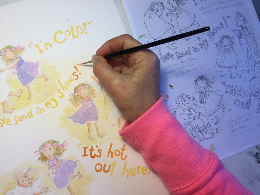 Creating art for children's book,  Willow and the Wedding , written by  Denise Brennan Nelson