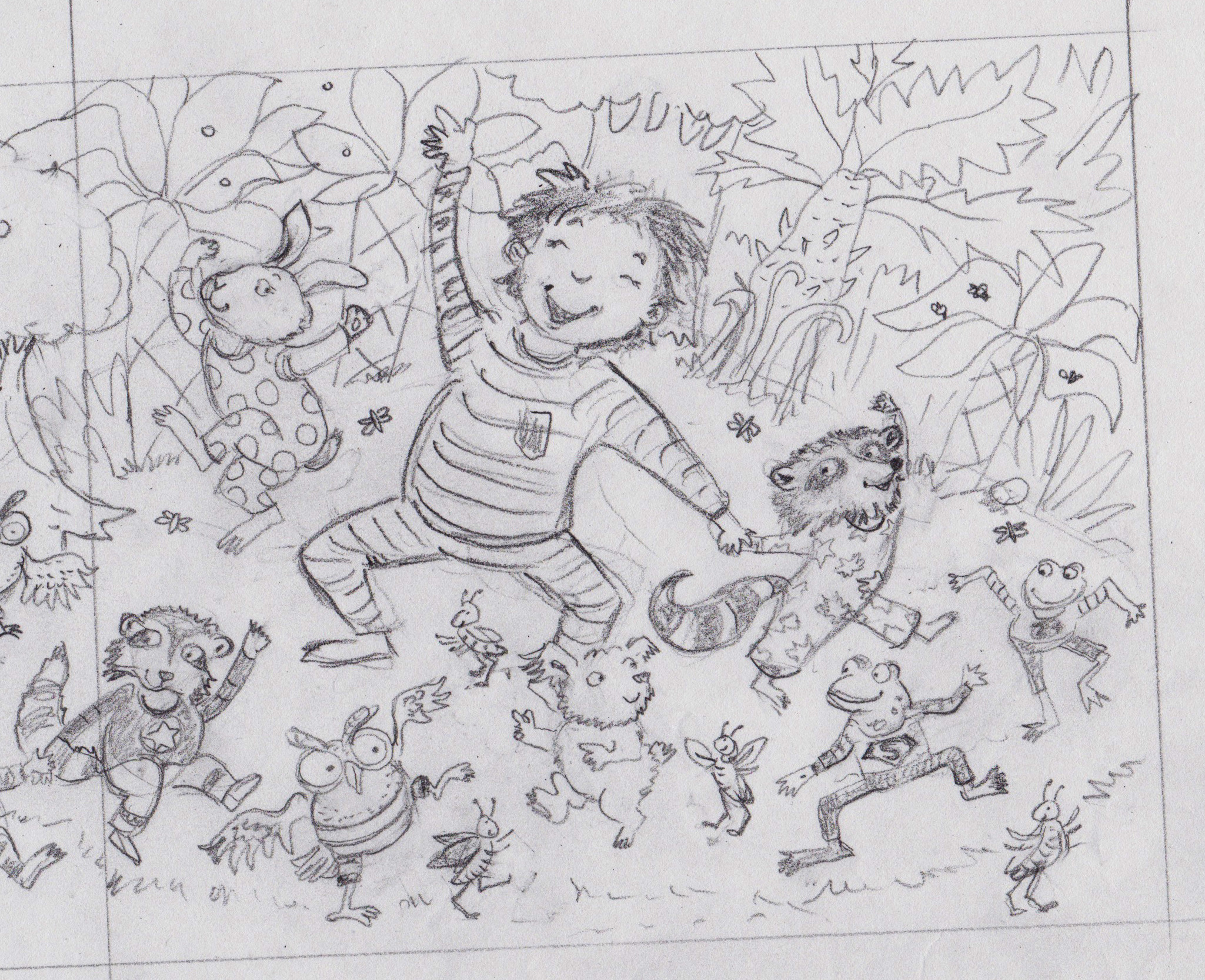 One of the sketches for Good Night, Stinky Face board book written by Lisa McCourt