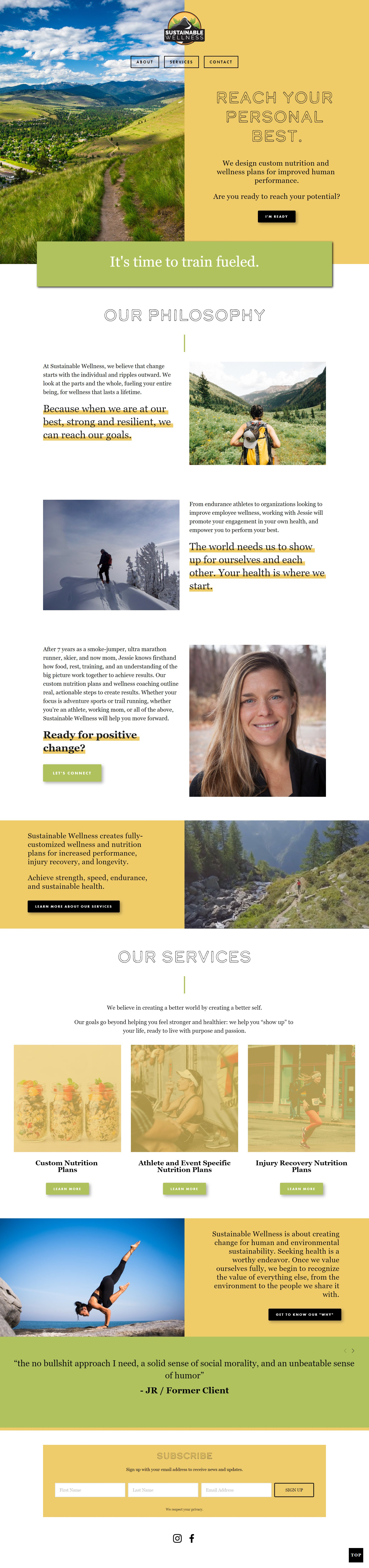 Sustainable Wellness Home Page
