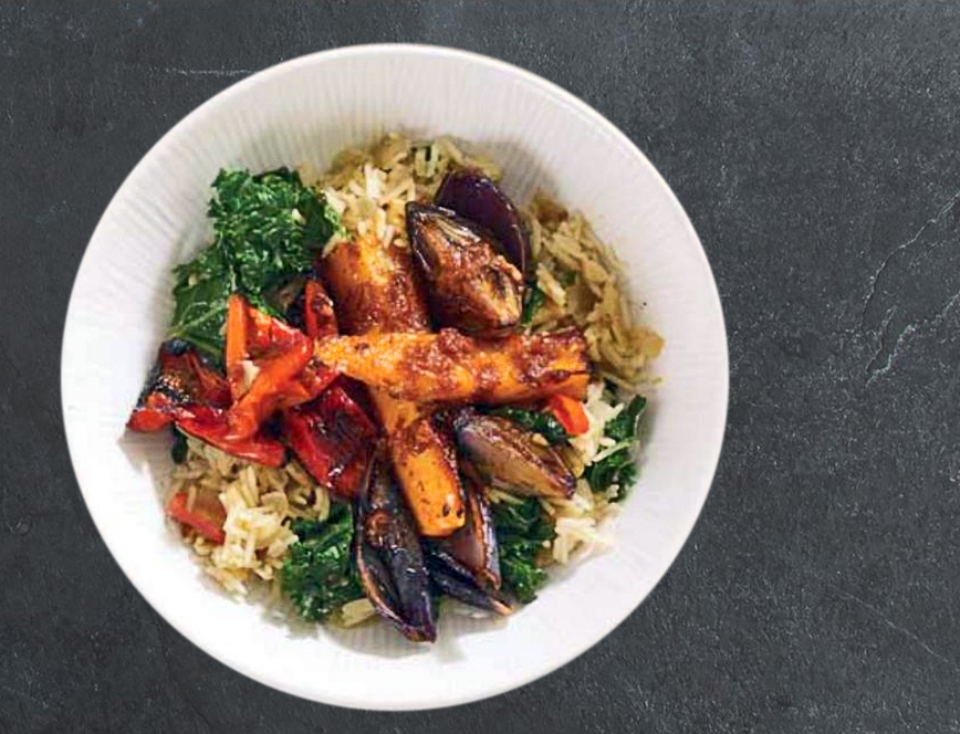 Harissa Veg with Kale Pilaf