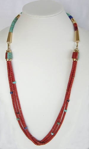 Coral Necklace, 3 strands