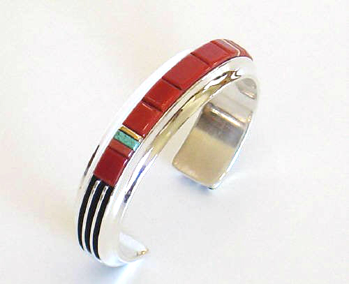 Silver Coral Bracelet with Rails