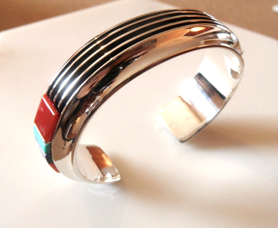 Silver Rail Bracelet with Coral and Turquoise