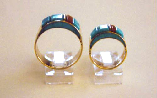 Gold Turquoise Side Inlay Rings