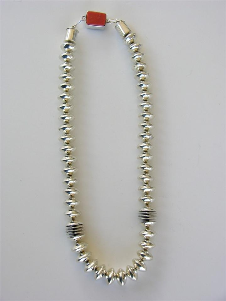 Silver Beads Coral Necklace