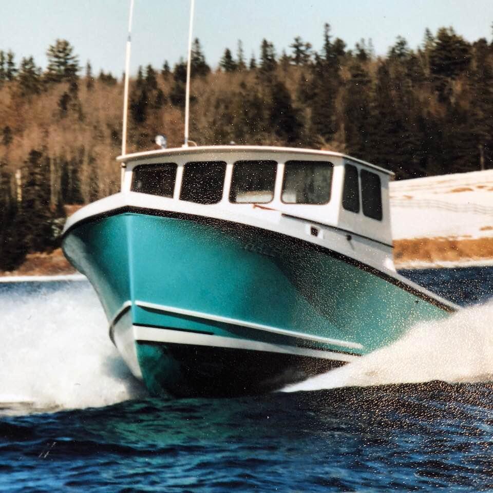 Downeast 34'. Built by Jughead Cousins, 1986. Webber's Cove Boatyards. Blue Hill, Maine