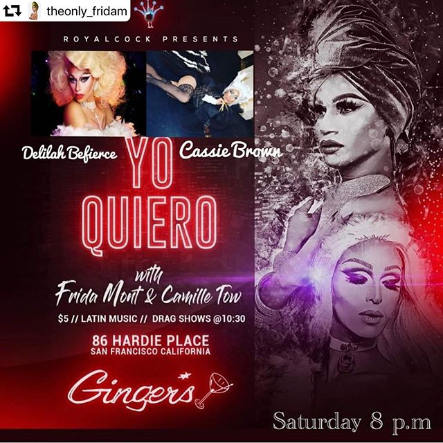 Tonight!!!! Join @theonly_fridam for our Latin night down at Ginger's!