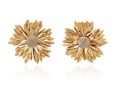 Metal Petal Flower Earring