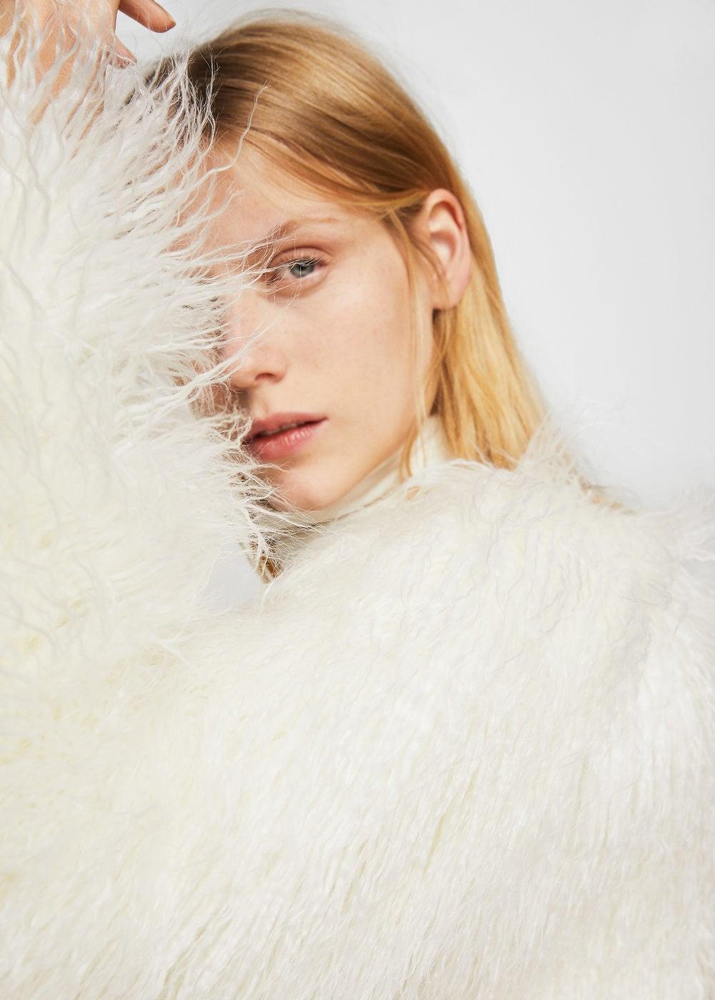 Short Faux Fur Shag Coat in White