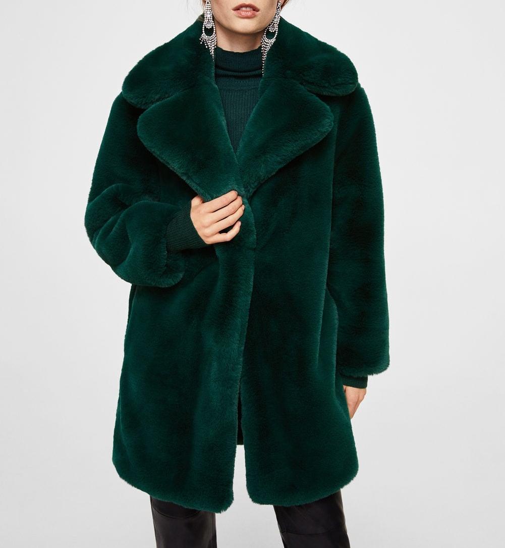 Medium Lapels Faux Fur Coat in Dark Green