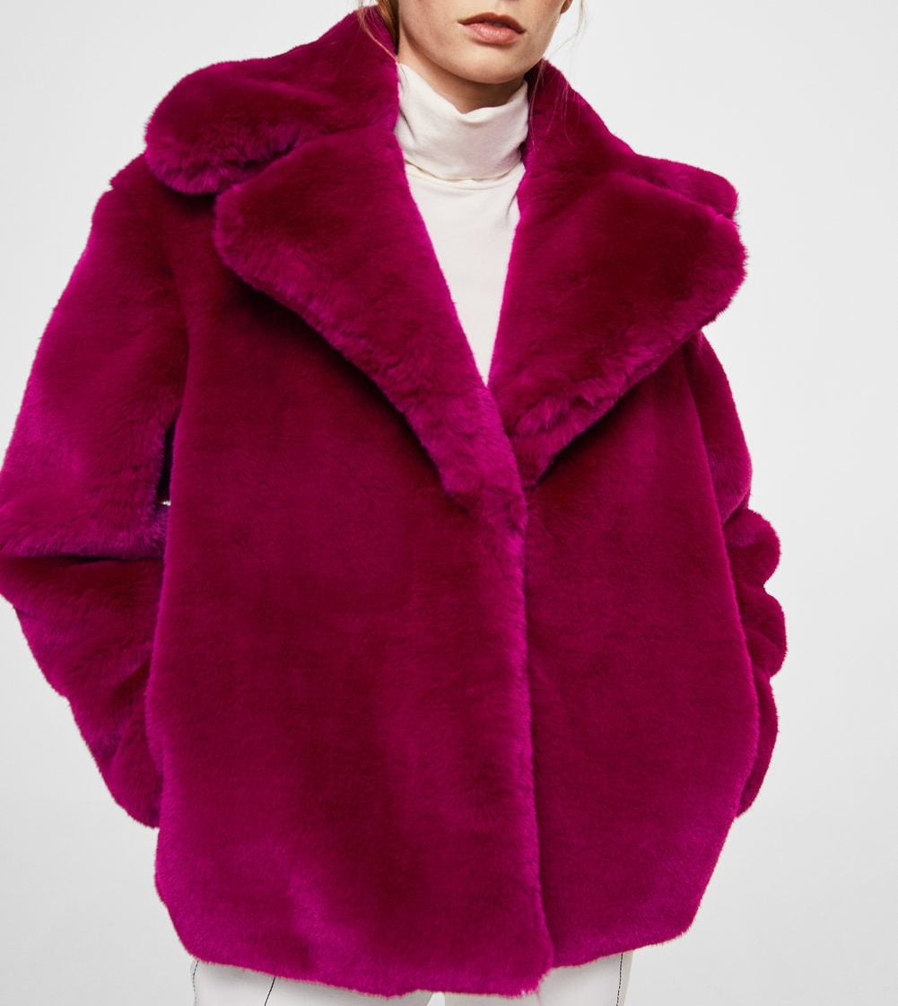 Short  Lapels Faux Fur Coat in Fuchsia