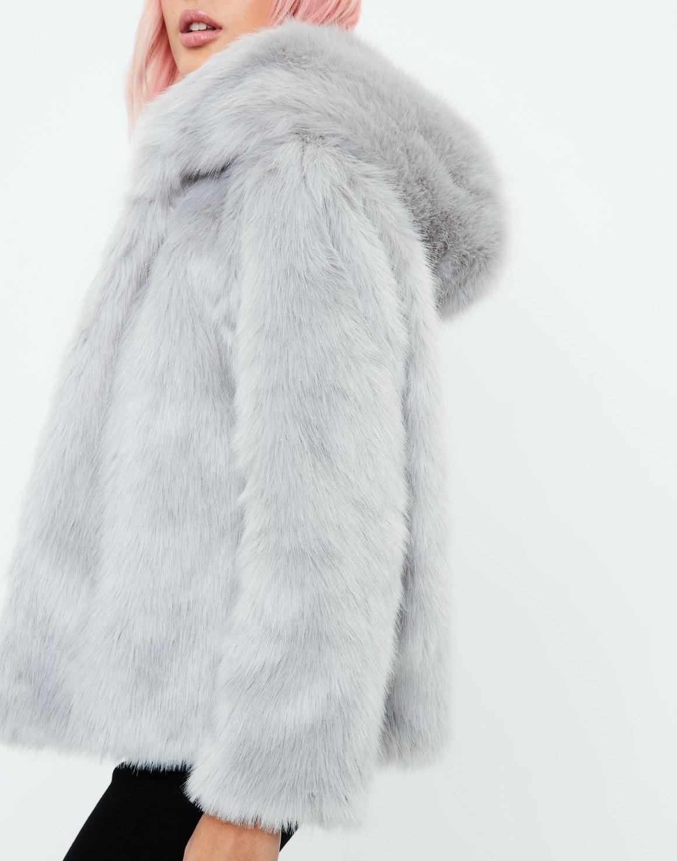 Hooded Faux Fur Coat in Gray