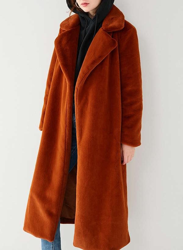 Long Fuax Fur Coat in Light Brown