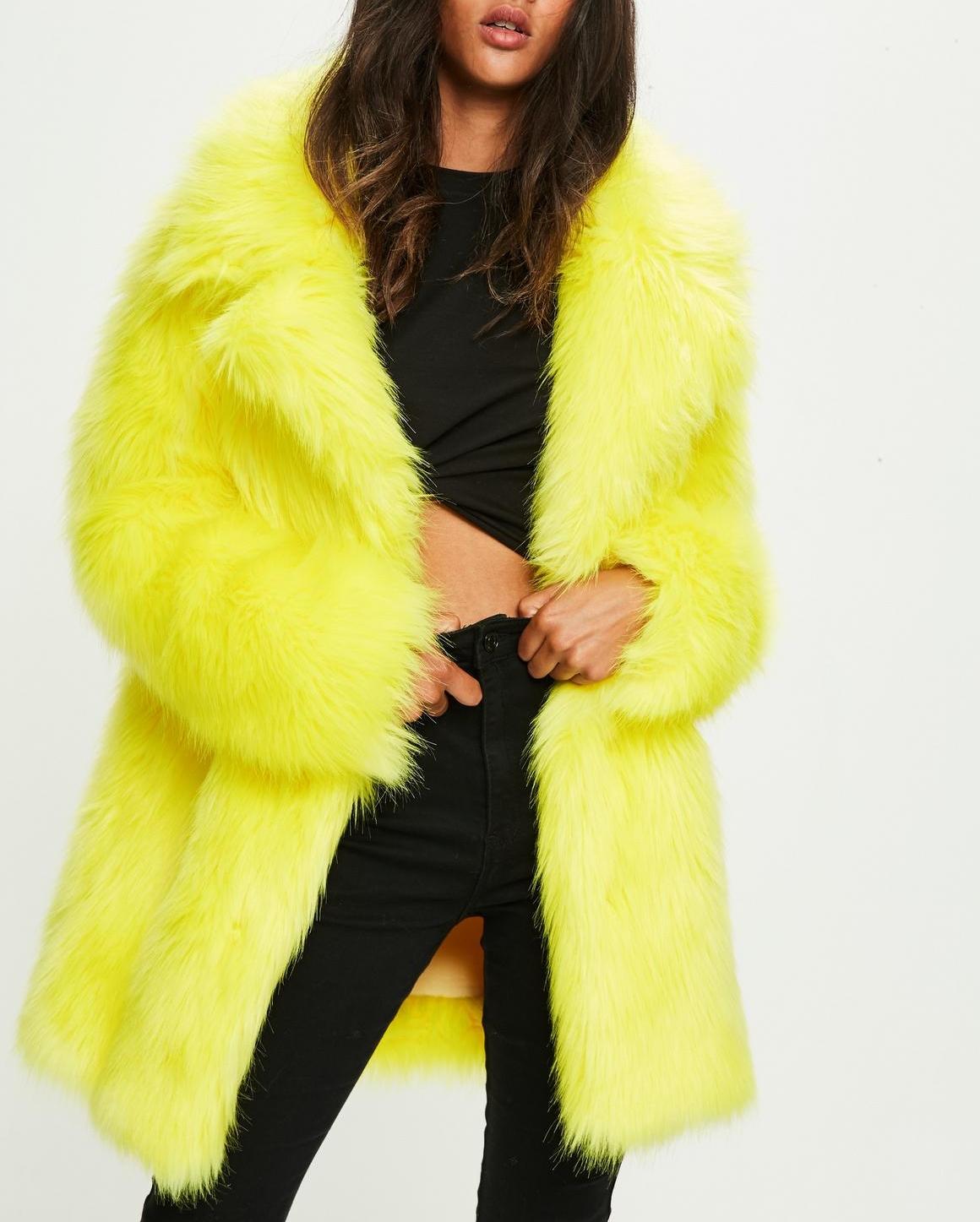 Medium Lapels Faux Fur Coat in Neon Yellow