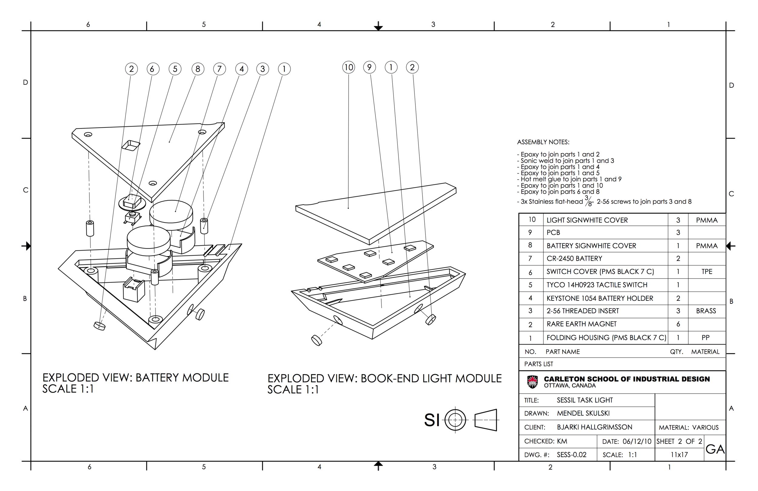 Sessil - a folding, magnetic task light