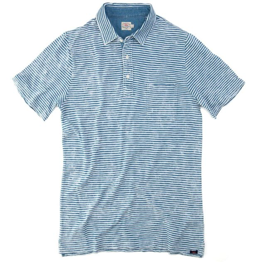 Faherty Brand Salt Wash Indigo Stripe Indigo Polo