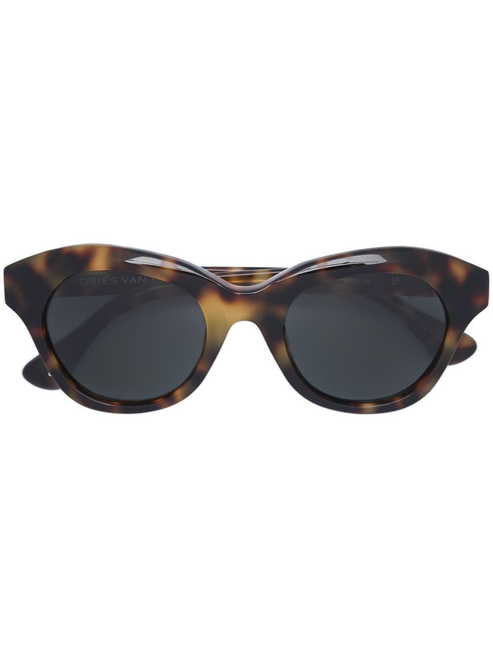 Dries Van Noten x Linda Farrow Blurred Leopard Print Sunglasses