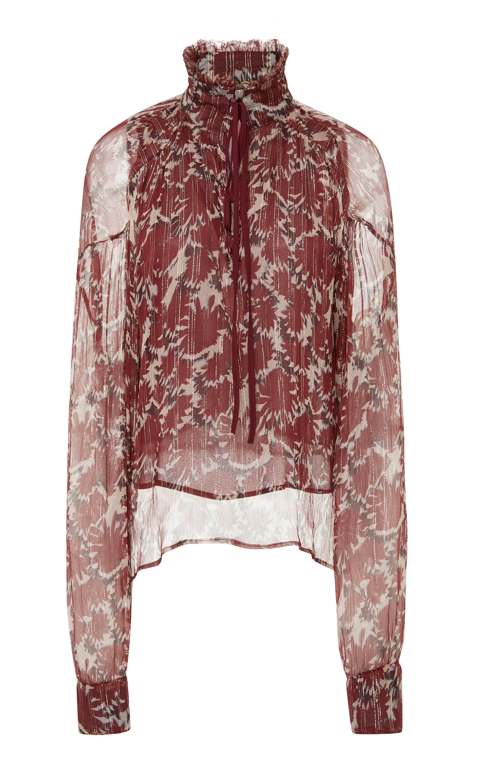 Warm Lurex-Trimmed Printed Silk-Chiffon Blouse