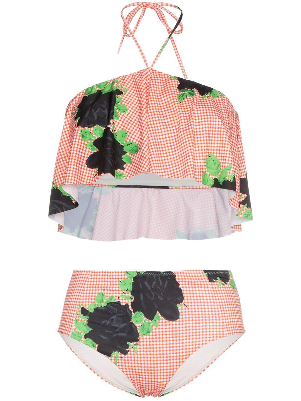 Red Print Check Print High Waist Bikini – GANNI