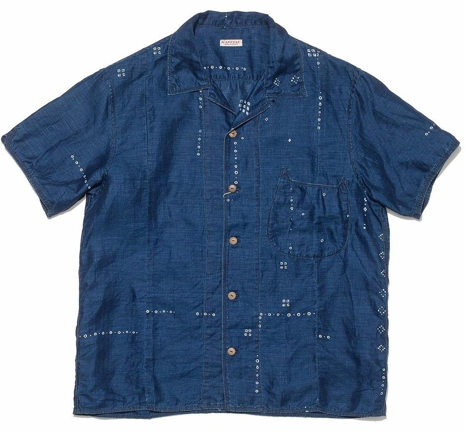 French Cloth Linen Bandana Dye Aloha Shirt in Indigo – Kapital