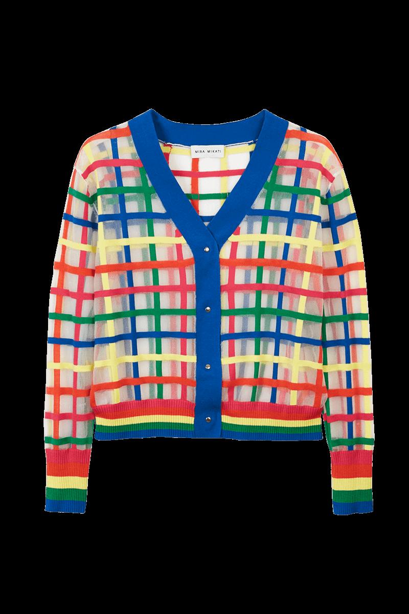 Mira Mikati Sheer Check Embroidered T-Shirt