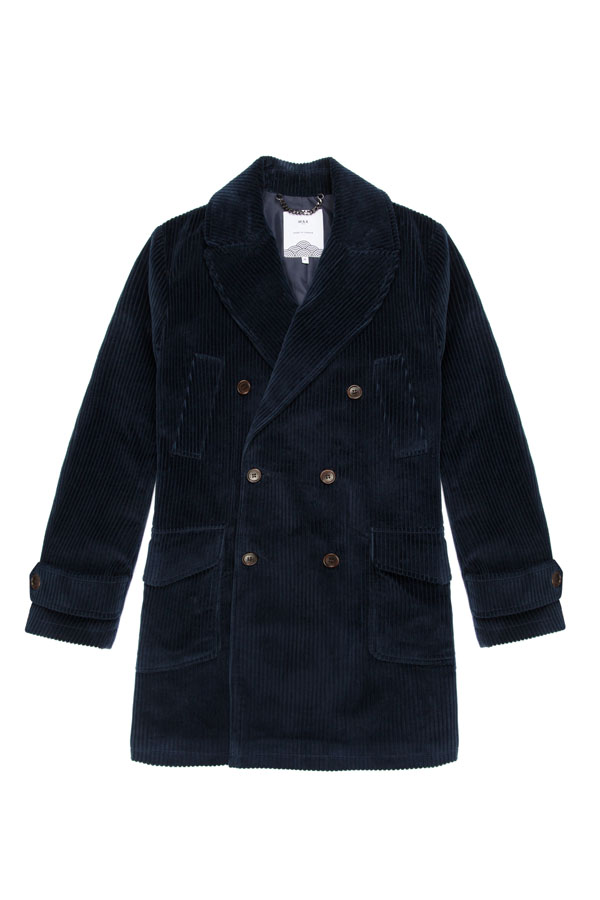 Wax Elwin Coat Navy Corduroy